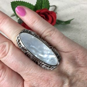 Kaki Jo's Closet Jewelry - White Mother Of Pearl Stainless Steel Ring